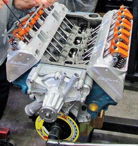 Harland Sharp small block Mopar rockers installed on LA engine Edelbrock Heads